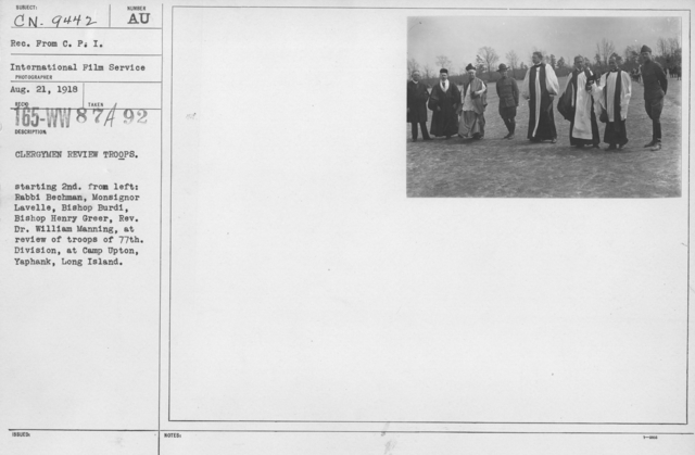 Ceremonies and Parades - Clergymen review troops.  Starting 2nd from left:  Rabbi Bechman, Monsignor Lavelle, Bishop Burdi, Bishop Henry Greer, Rev. Dr. William Manning, at review of troops of 77th Division at Camp Upton, Yaphank, Long Island