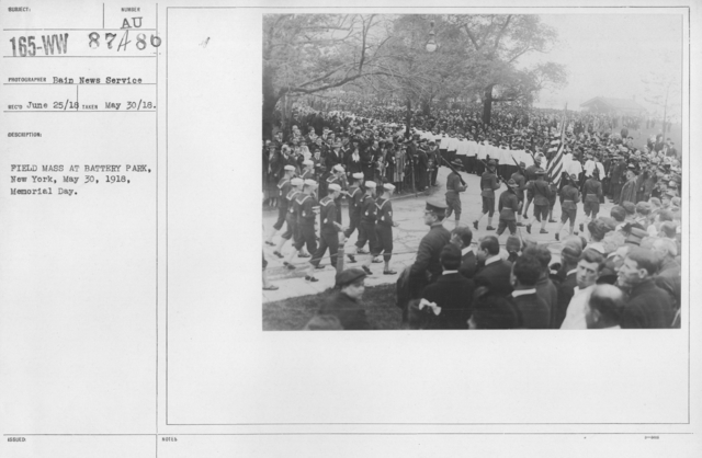 Ceremonies and Parades - Field Mass at Battery Park, New York, May 30, 1918, Memorial Day