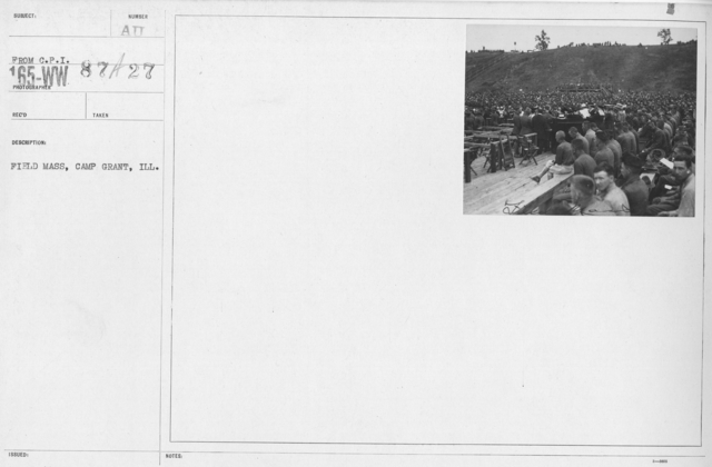 Ceremonies and Parades - Field Mass, Camp Grant. Ill