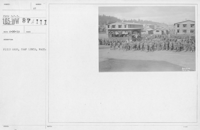 Ceremonies and Parades - Field Mass, Camp Lewis, Wash