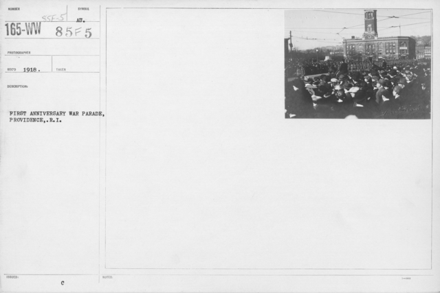 Ceremonies and Parades - First Anniversary War Parade, Providence, R.I