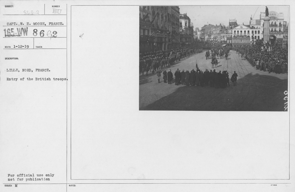 Ceremonies and Parades - Lille, Nord, France.  Parade of British troops with regimental band