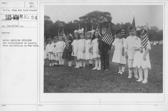 Ceremonies and Parades - Loyal American children who participated in Loyalty Week celebration in New York