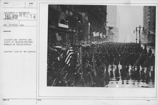 Ceremonies and Parades - Marines who stopped Hun drive at Chateau Thierry parade in Philadelphia.  General view of the parade