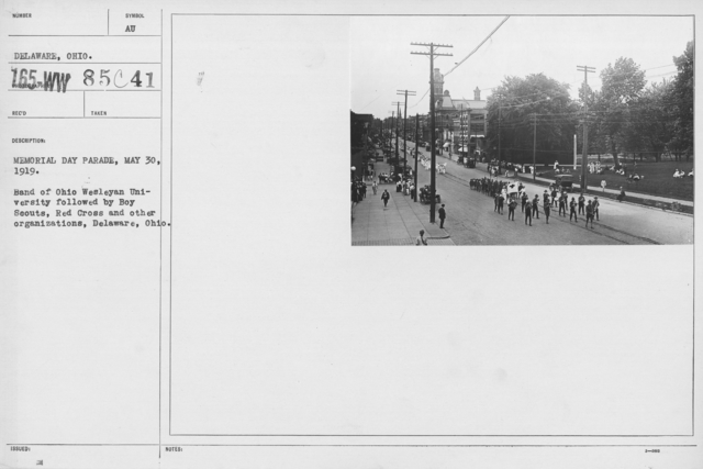 Ceremonies and Parades - Memorial Day Parade, May 30, 1919.  Band of Ohio Wesleyan University followed by Boy Scouts, Red Cross and other organizations, Deleware, Ohio