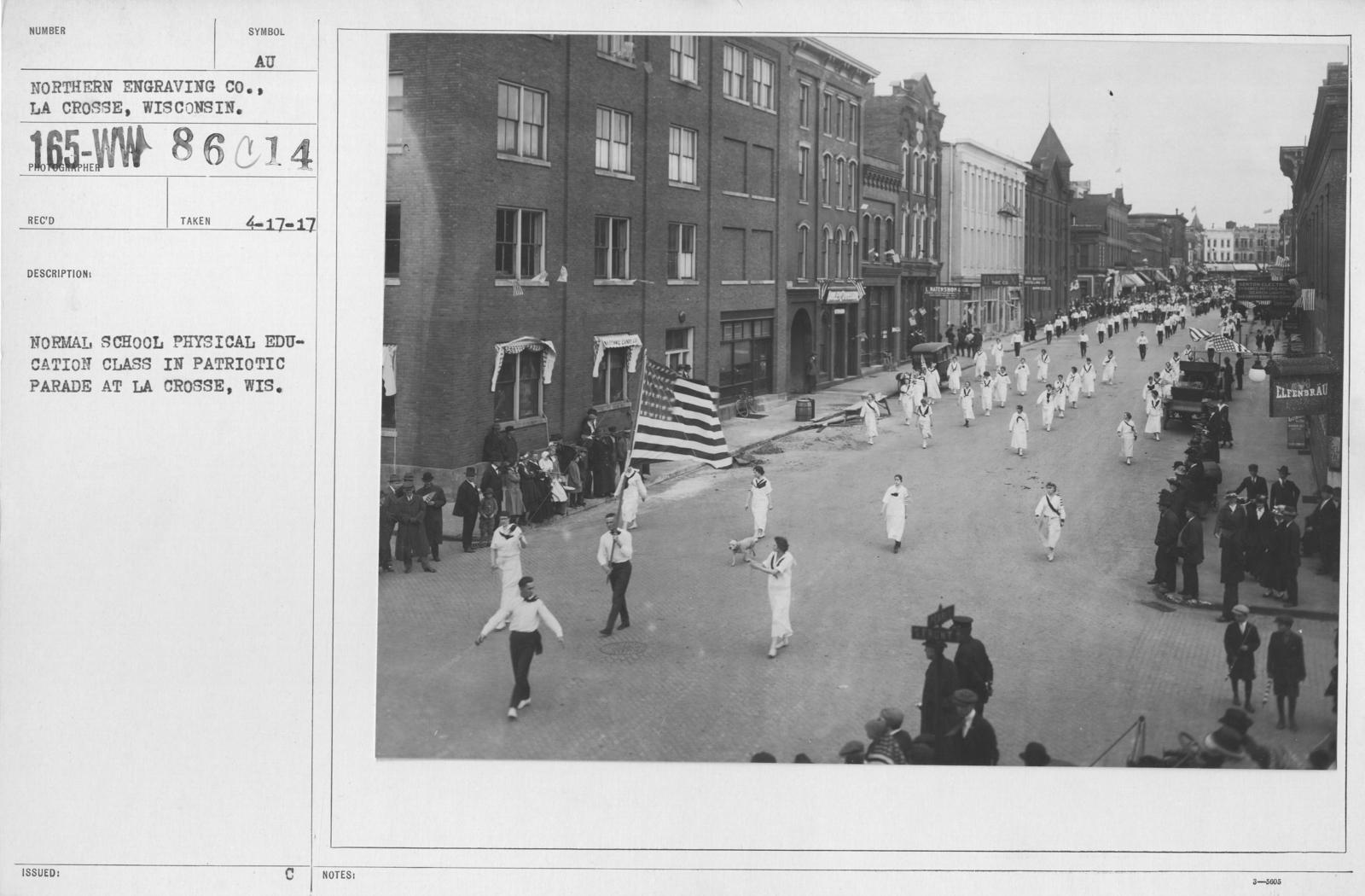 Ceremonies and Parades - Normal School Physical Education Class in Patriotic Parade at La Crosse, Wish