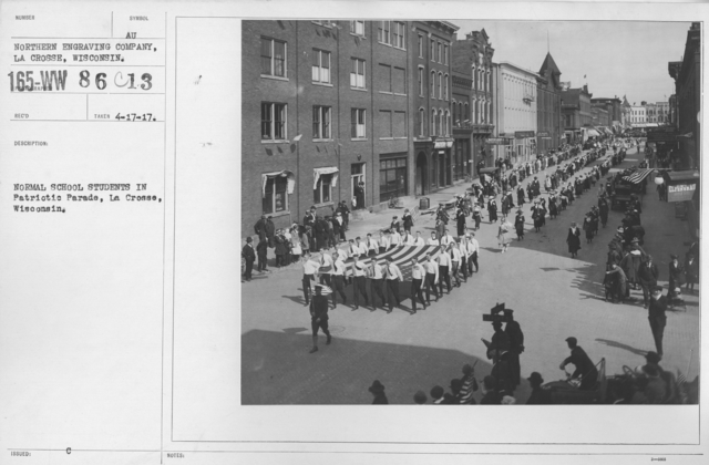 Ceremonies and Parades - Normal School students in Patriotic Parade, La Crosse, Wisconsin
