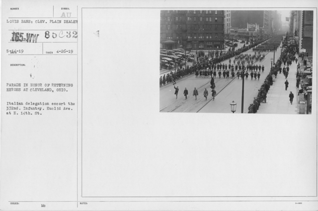 Ceremonies and Parades - Parade at Cleveland, Ohio in honor of returning heroes.  332nd Infantry passing E. 14th on Euclid Ave