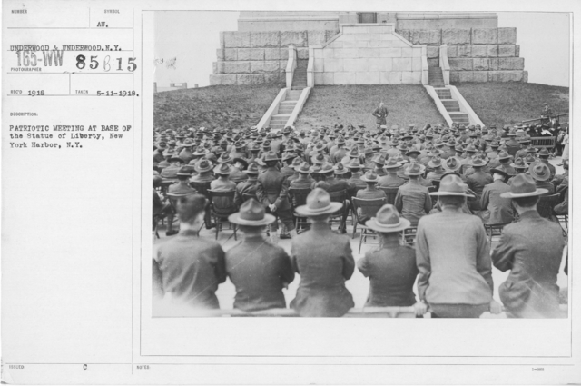 Ceremonies and Parades - Patriotic meeting at base of the Statue of Liberty, New York Harbor, N. Y