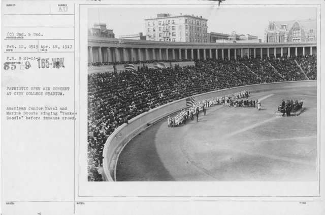 """Ceremonies and Parades - Patriotic open air concert at City College Stadium.  American Junior naval and Marine Scouts singing """"Yankee Doodle"""" before immence crowd"""