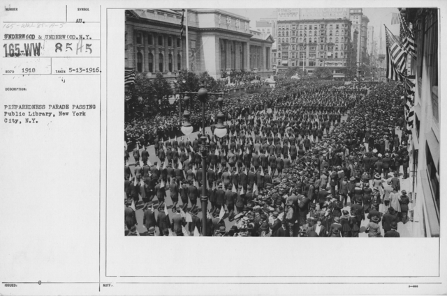 Ceremonies and Parades - Preparedness Parade Passing Public Library, New York City, N.Y