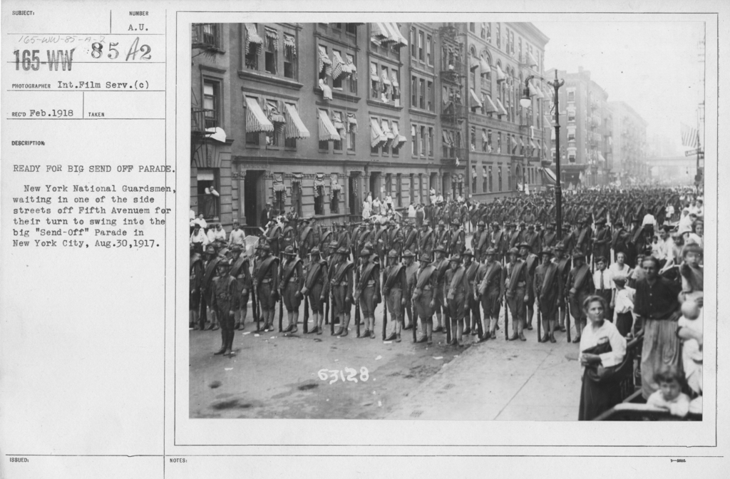 Ceremonies and Parades - Ready for big send off parade.  New York National Guardsmen, waiting in one of the side streets off Fifth Avenue for their turn to swing into the big 'send-off' parade in New York City, Aug. 30, 1917
