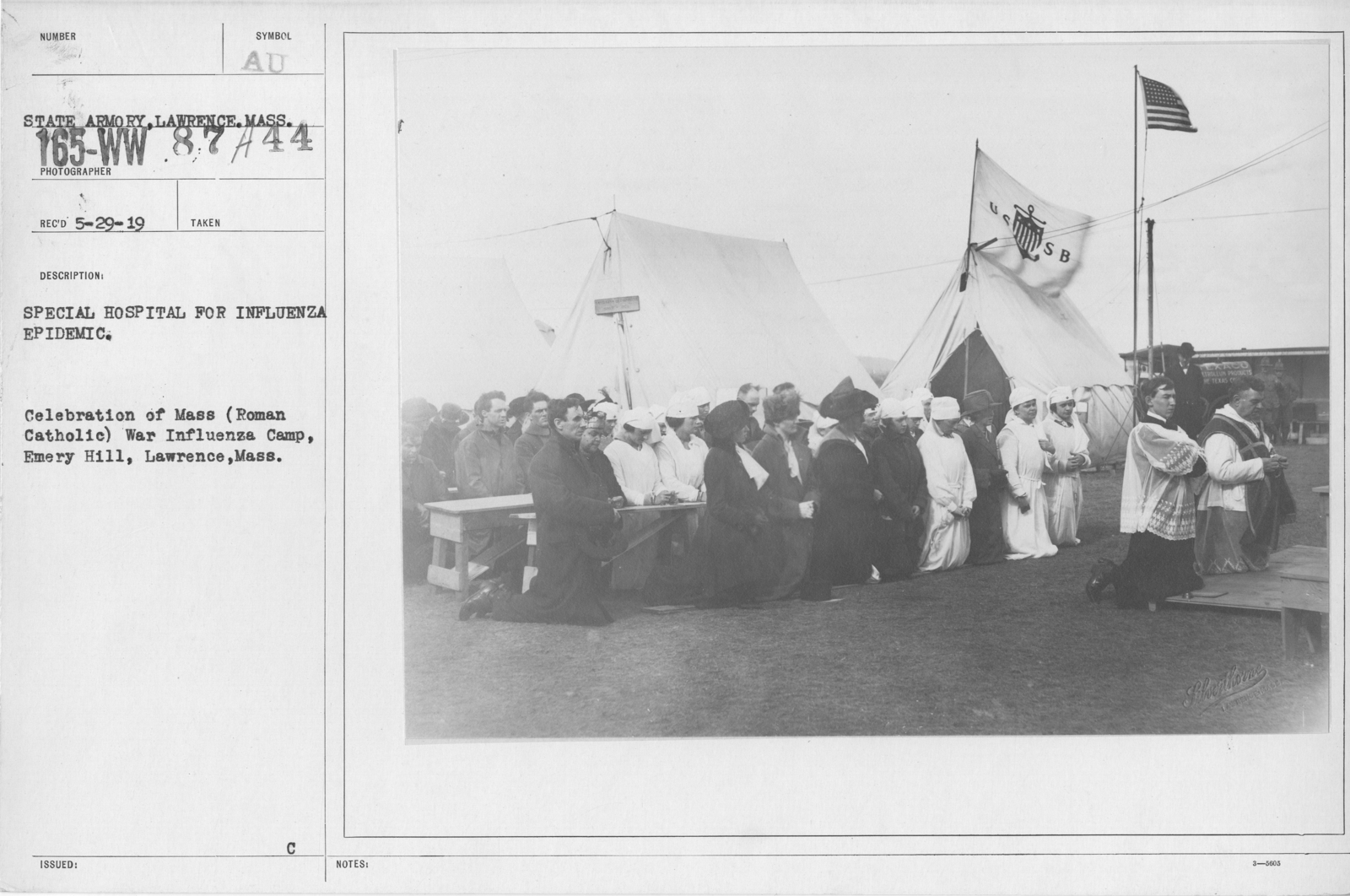 Ceremonies and Parades - Special hospital for Influenza Epidemic.  Celebration of Mass (Roman Catholic) War Influenza Camp, Emery Hill, Lawrence, Mass