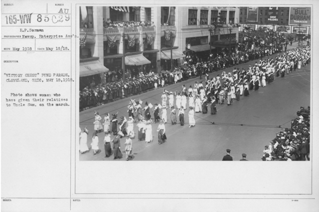 Ceremonies and Parades - Victory Chest Fund Parade, Cleveland, Ohio, May 18, 1918.  Photo shows women who have given their relatives to Uncle Sam, on the march