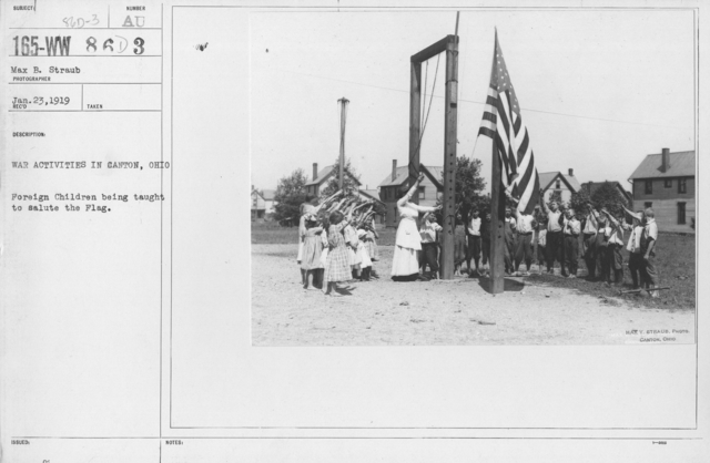 Ceremonies and Parades - War Activities in Canton, OH.  Foreign children being taught to salute the Flag