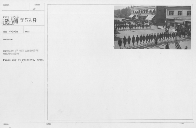 Ceremonies - Arizona - Signing of the Armistice Celebration. Peace Day at Prescott, Ariz
