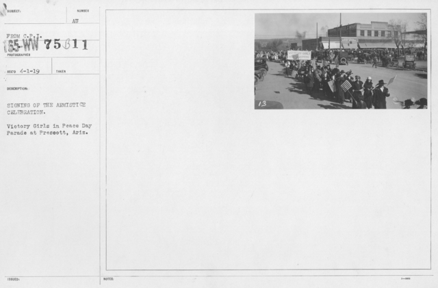 Ceremonies - Arizona - Signing of the Armistice Celebration. Victory Girls in Peace Day Parade at Prescott, Ariz