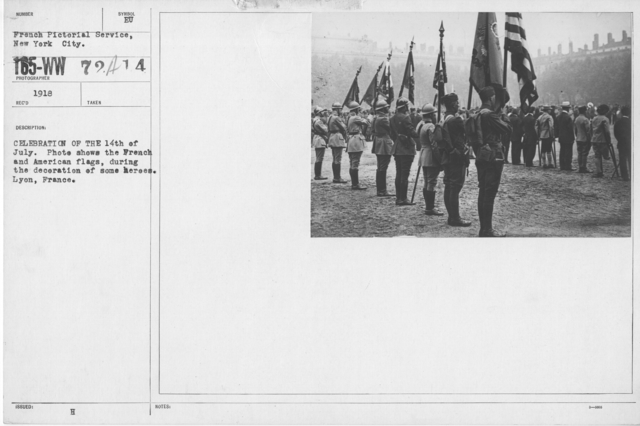 Ceremonies - Bastille Day, 1918 - Celebration of the 14th of July. Photo shows the French and American flags, during the decoration of some heroes. Lyon, France