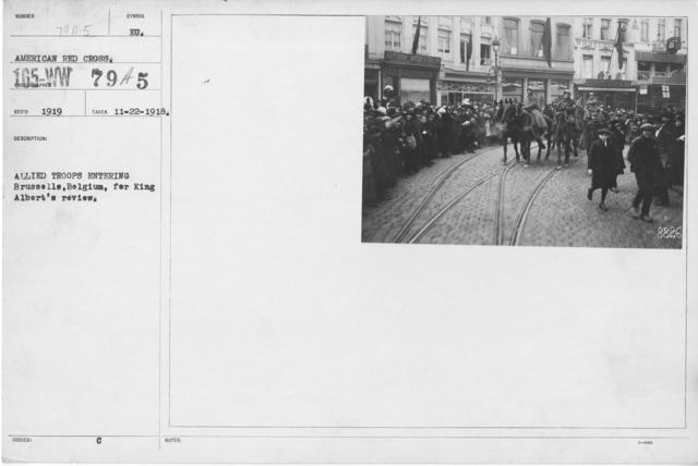 Ceremonies - Belgium - Allied Troops entering Brussells, Belgium, for King Albert's review