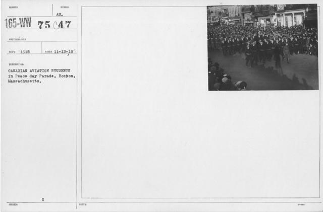Ceremonies - Boston, Mass. - Canadian Aviation students in Peace Day Parade, Boston, Massachusetts