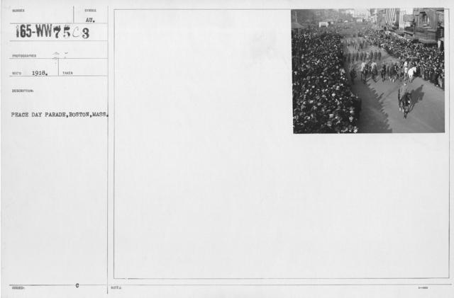 Ceremonies - Boston, Mass. - Peace Day Parade, Boston, Mass