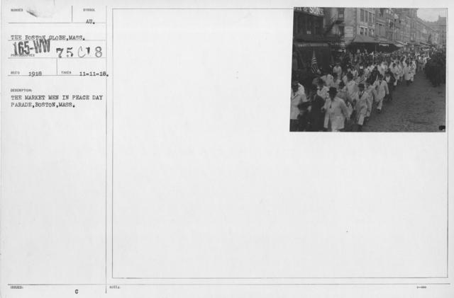 Ceremonies - Boston, Mass. - The Market Men in Peace Day Parade, Boston, Mass