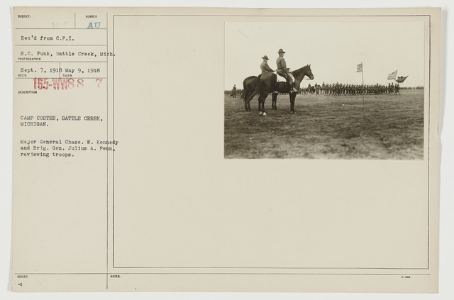 Ceremonies - Camp Bowie thru Camp Forest - Camp Custer, Battle Creek, Michigan.  Major General Chase. W. Kennedy and Brigadier General Julius A. Penn, reviewing troops