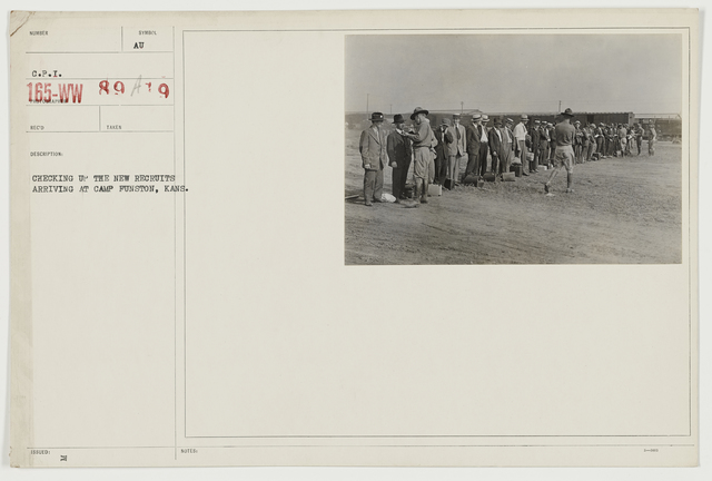 Ceremonies - Camp Funston thru Camp Lee - Checking up the new recruits arriving at Camp Funston, Kansas