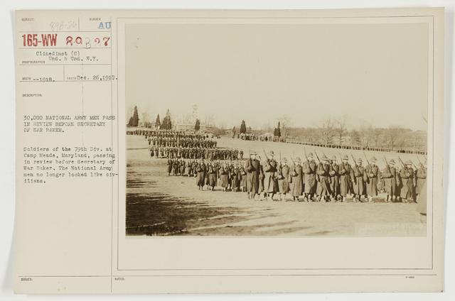 Ceremonies - Camp Lewis thru Camp Wheeler - 30,000 national Army men pass in review before Secretary of War Baker