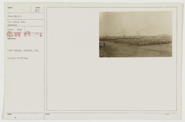 Ceremonies - Camp Lewis thru Camp Wheeler - Camp Meade, Admiral, Maryland.  Troops drilling