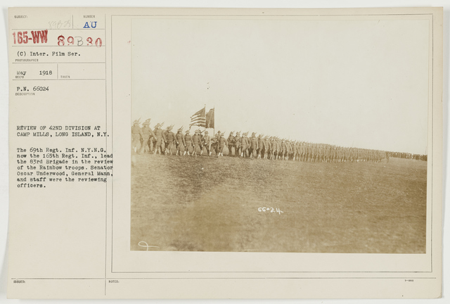 Ceremonies - Camp Lewis thru Camp Wheeler - Review of 42nd Division at Camp Mills, Long Island, New York/