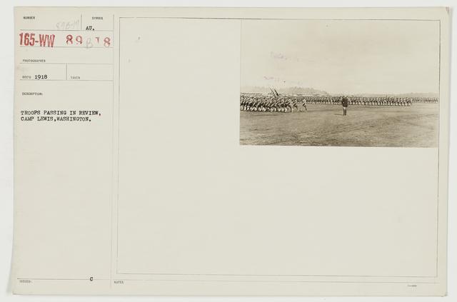 Ceremonies - Camp Lewis thru Camp Wheeler - Troops passing in review, Camp Lewis, Washington