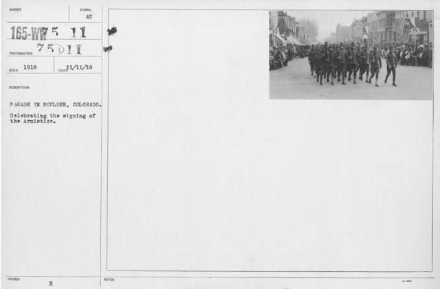 Ceremonies - Colorado - Parade in Boulder, Colo. Celebrating the signing of the Armistice