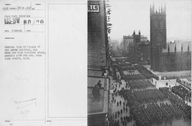 Ceremonies - Demobilization - General view of parade of the 165th Infantry, Old 69th New York National Guard, looking down 5th Ave. from 13th Street, N.Y.C