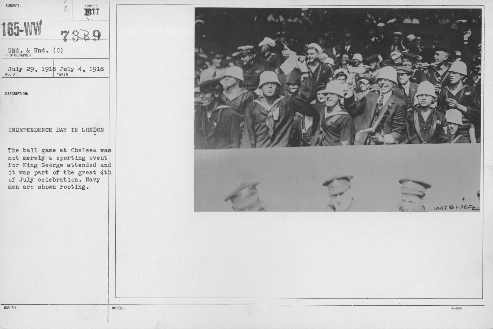 Ceremonies - England, Italy - Independence Day in London. The ball game at Chelsea was not merely a sporting event for King George attended and it was part of the great 4th of July celebration. Navy men are shown rooting