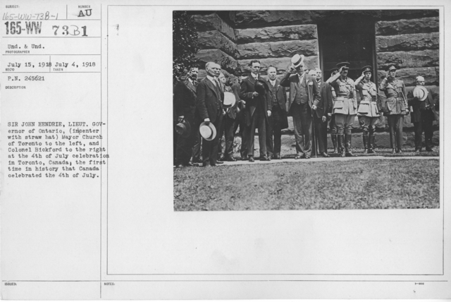 Ceremonies - England, Italy - Sir John Hendrie, Lieut. Governor of Ontario, (in center with straw hat) Mayor Church of Toronto to the left, and Colonel Bickford to the right at the 4th of July celebration in Toronto, Canada; the first time in history that Canada celebrated the 4th of July