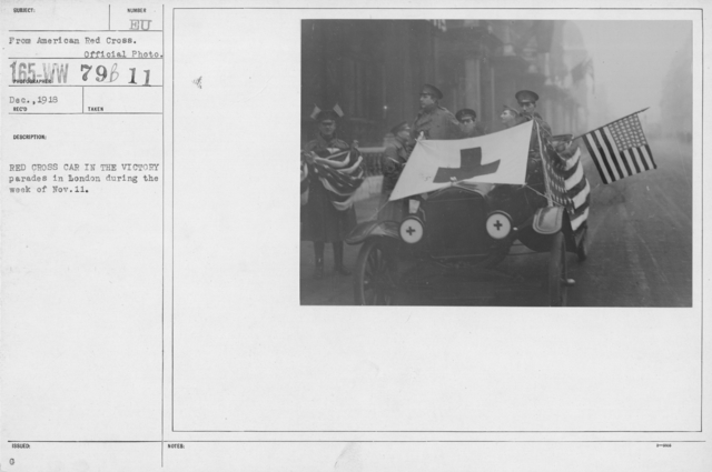Ceremonies - England - Red Cross car in the victory parades in London during the week of Nov. 11