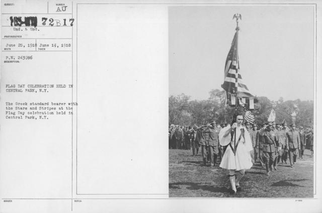 Ceremonies - Flag Day, 1918 - Flag Day Celebration held in Central Park, N.Y. The Greek standard bearer with the Stars and Stripes at the Flag Day celebration held in Central Park, N.Y