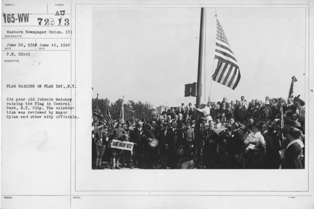 Ceremonies - Flag Day, 1918 - Flag raising on Flag Day, N.Y. Six year old Johnnie Mahoney raising the flag in Central Park, N.Y. City. The celebration was reviewed by Mayor Hylan and other city officials