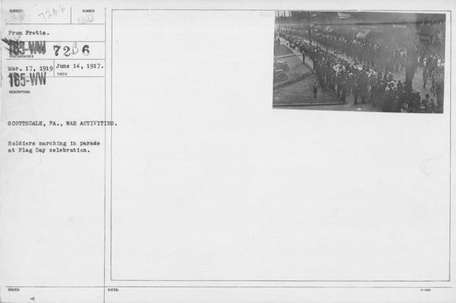 Ceremonies - Flag Day, 1918 - Scottsdale, PA. War Activities. Soldiers marching in parade at Flag Day celebration