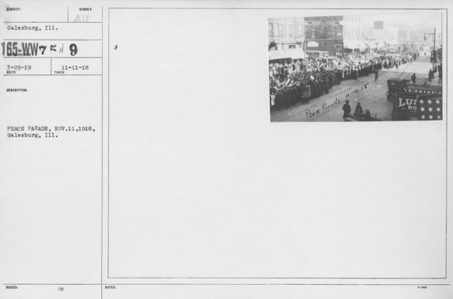 Ceremonies - Illinois - Peace Day Parade, Nov. 11, 1918, Galesburg, Ill