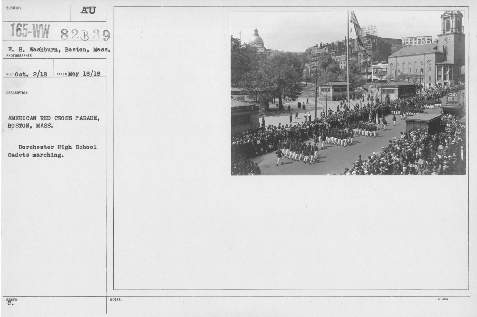 Ceremonies - Illinois thru Massachusetts - American Red Cross parade, Boston, Mass. Dorchester High School Cadets marching