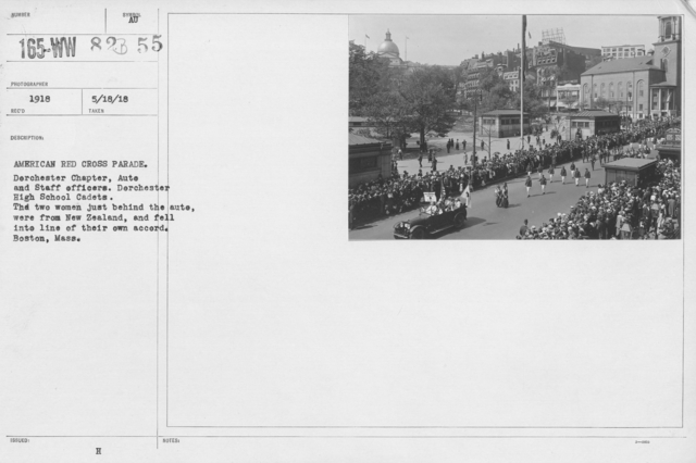 Ceremonies - Illinois thru Massachusetts - American Red Cross parade. Dorchester Chapter, Auto and Staff officers. Dorchester High School Cadets. The two women just behind the auto, were from New Zealand, and fell into line of their own accord. Boston, Mass