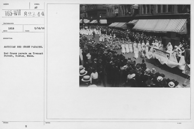 Ceremonies - Illinois thru Massachusetts - American Red Cross parades. Red Cross parade on Tremont Street, Boston, Mass