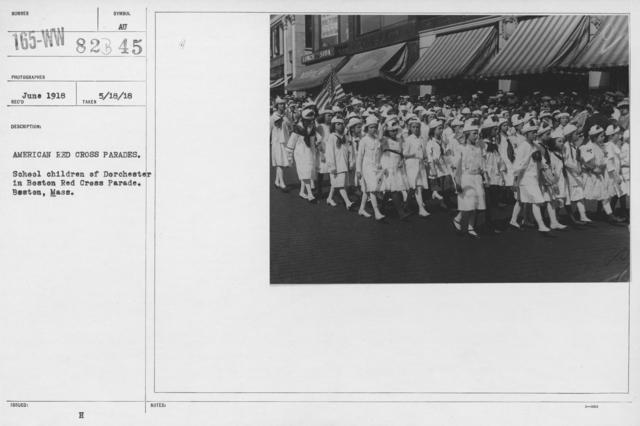 Ceremonies - Illinois thru Massachusetts - American Red Cross parades. School children of Dorchester in Boston Red Cross parade. Boston, Mass