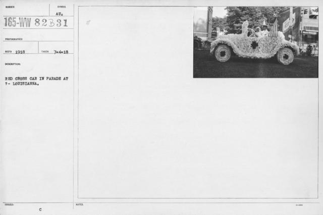 Ceremonies - Illinois thru Massachusetts - Red Cross car in parade at ? - Louisianna