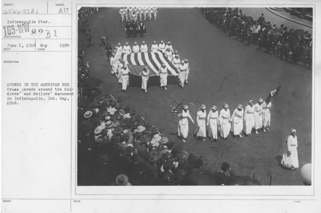 Ceremonies - Illinois thru Massachusetts - Scenes in the America Red Cross parade around the Soldiers' and Sailors' Monument in Indianapolis, Ind. May, 1918