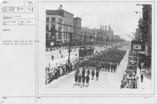 Ceremonies - Illinois thru Massachusetts - Soldiers take part in Red Cross parade at New Orleans, LA
