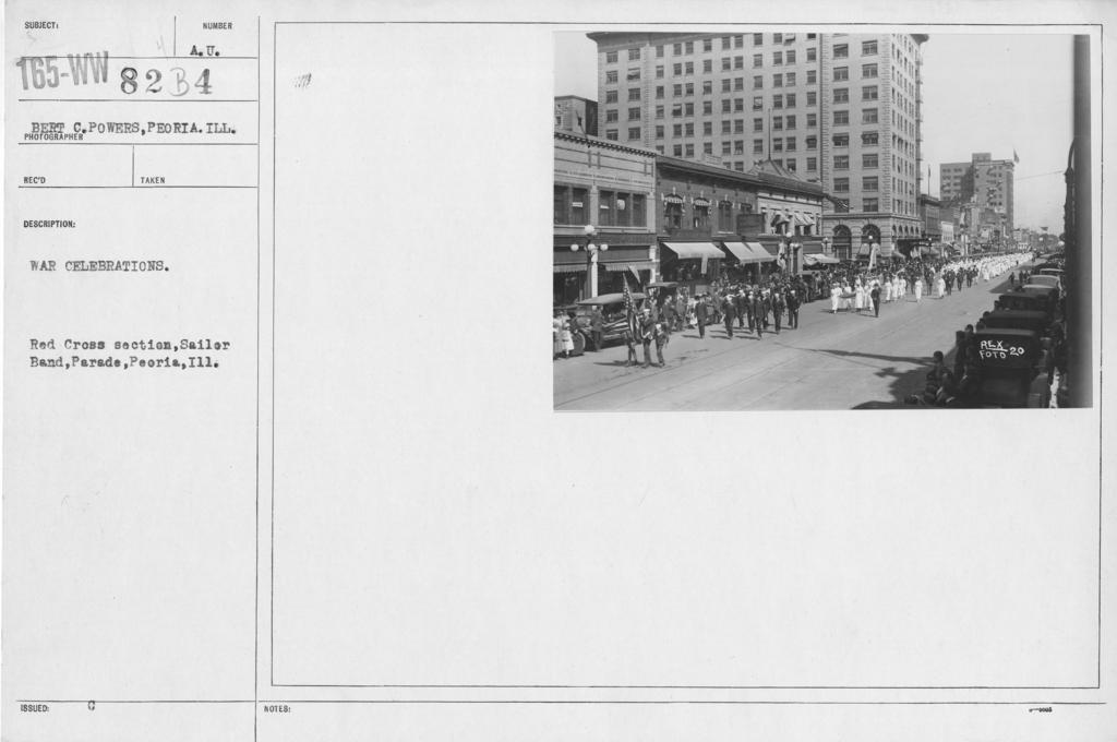 Ceremonies - Illinois thru Massachusetts - War celebrations. Red Cross section, Sailor Band, Parade, Peoria, Ill
