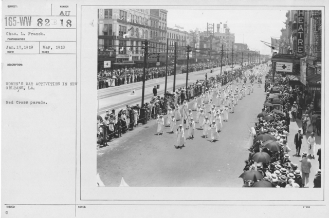 Ceremonies - Illinois thru Massachusetts - Women's war activities in New Orleans, LA. Red Cross parade